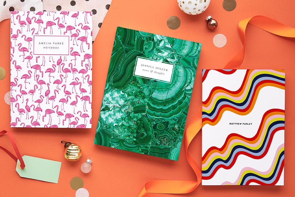 interior designer sophie robinson shares her CHritsmas gift guide for colour lovers including these patterned personalised notebooks