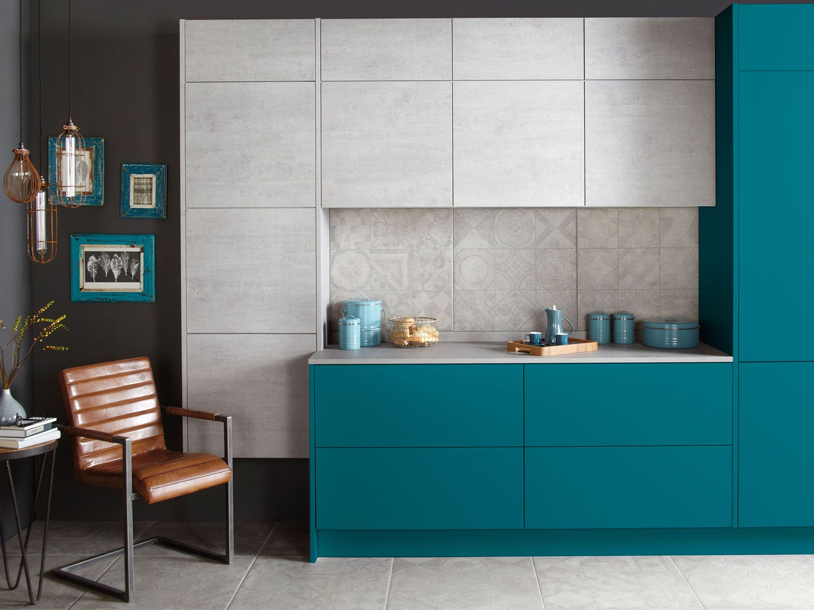 Otto kitchen In Bespoke Painted Teal And Concrete is on trend for interior design