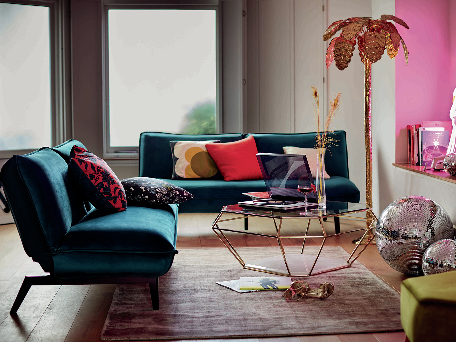 Savina Sofabed in teal velvet by DFS is totally on trend as reported by designer and colour expert Sophie Robinson