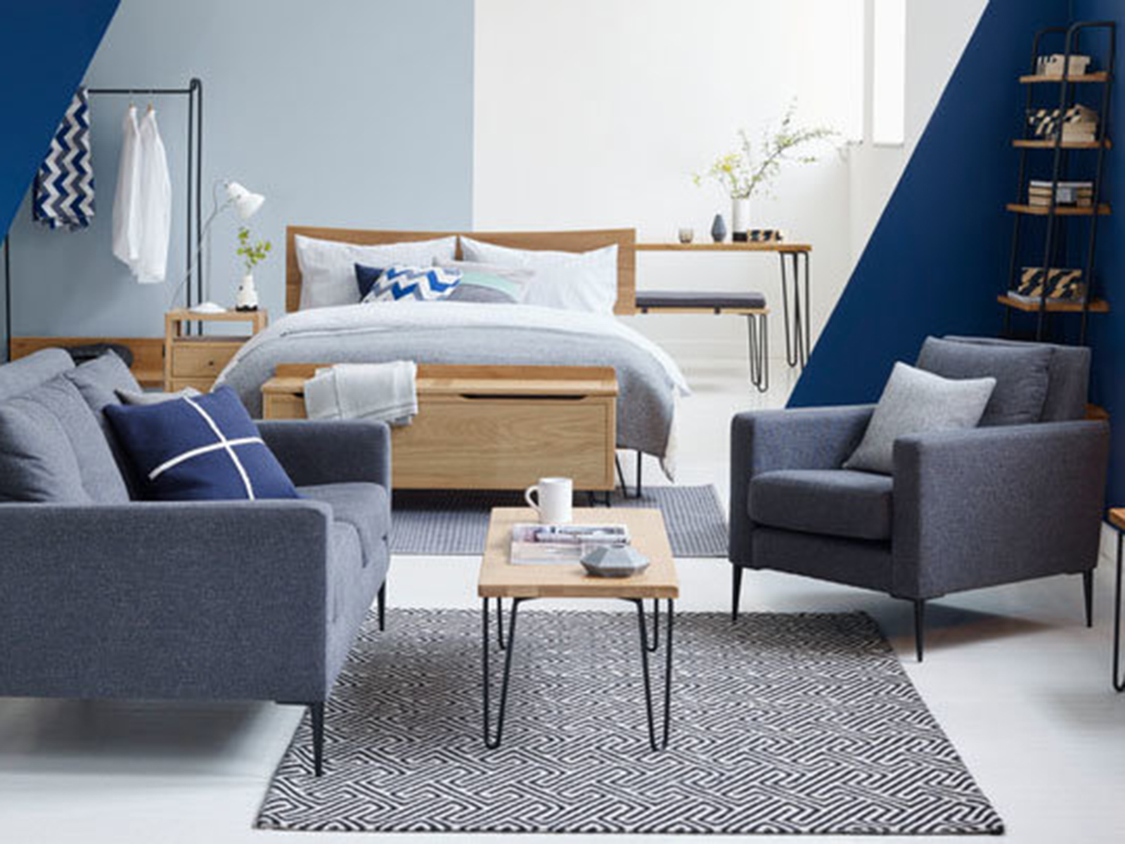 Interior Designer Sophie Robinson advises on how to make small spaces appear bigger. The Brunel collection by Heals has a mid century feel and made specifically when space is short. #sophierobinson #smallspaceliving #midcentury #heals