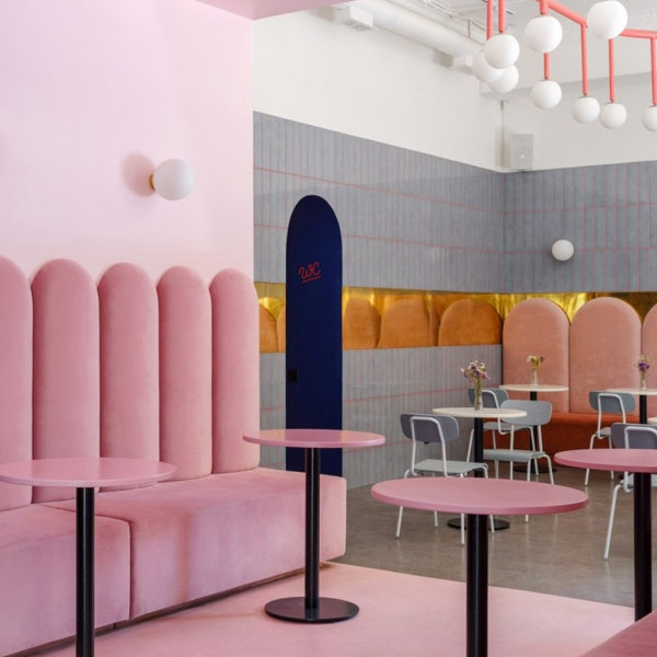 The confident colour platte of bubblegum pink, bold blue and gold interior of the new BreadWay bakery in central Odessa, Ukraine. #sophierobinson #cafe #bakery #cafeinterior