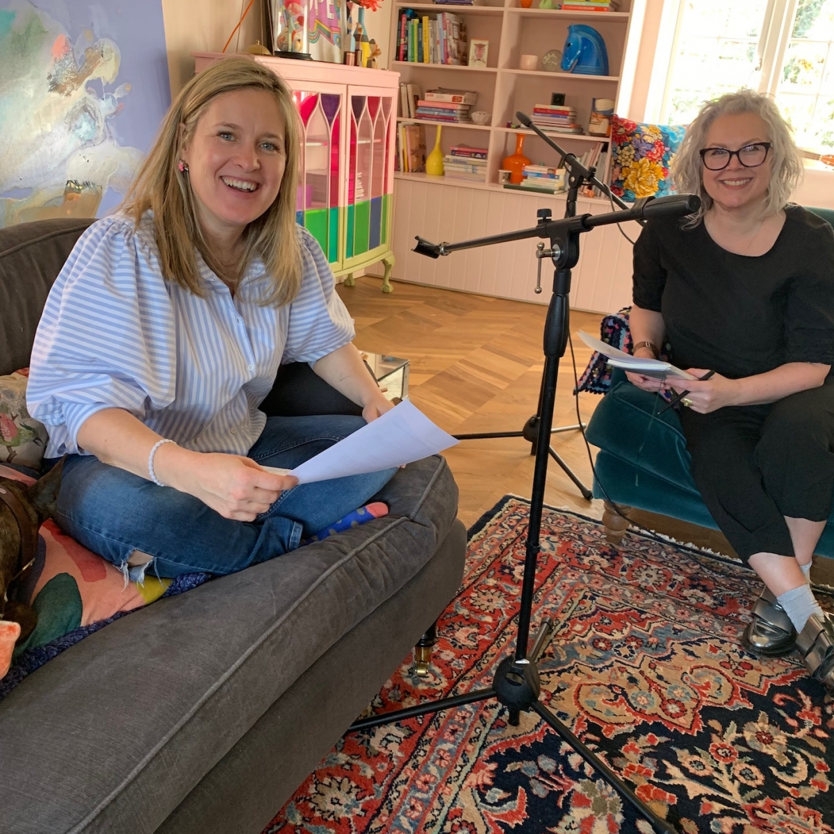 Kate Watson-Smyth and Sophie Robinson recording The Great Indoors podcast at Sophie's house. Discussing many design dilemmas and design crimes. Budget home updates, children's rooms and Instagram ready interiors. #sophierobinson #interiordesign #podcast