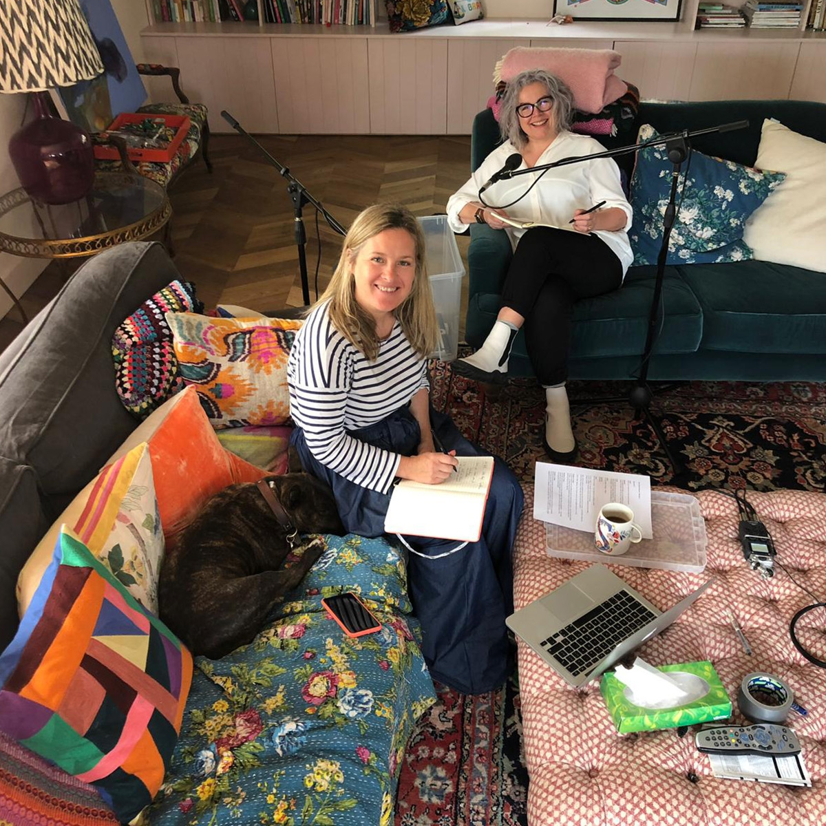Sophie Robinson and Kate Watson-Smyth record the third series of the Great Indoors podcast as Sophie's house. The living room has built in storage painted in a soft pink and the patterned rugs introduce pattern and texture. #sophierobinson #livingroom #patternedrug
