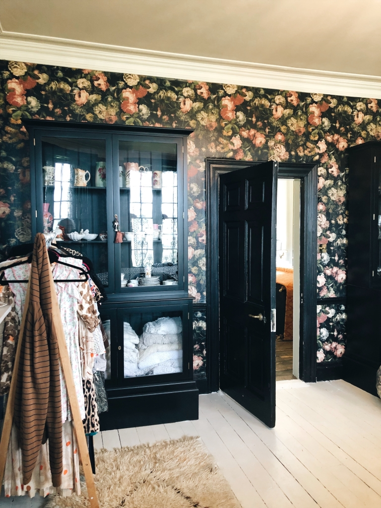house of hackney wallpaper and black DeVol dressers in the home of Pearl Lowe