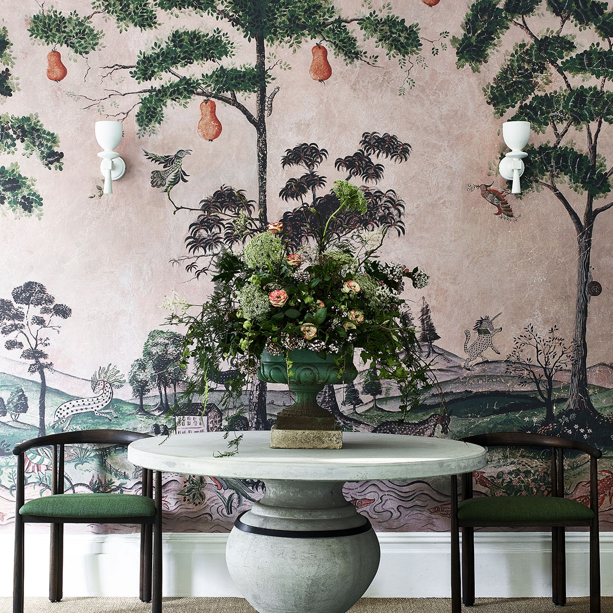 The very creative interior stylist Sally Denning shares her career journey and inspirations with Sophie Robinson in the Designer Spotlight feature. #homesandgardens #interiorstyling #wallmural #sophierobinson