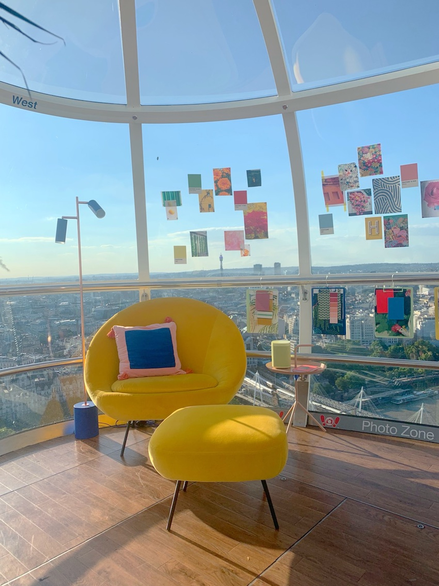 yellow curved misty armchair from habitat in the london eye creative studio designed by Sophie Robinson LED task floor lamp by HouseOf