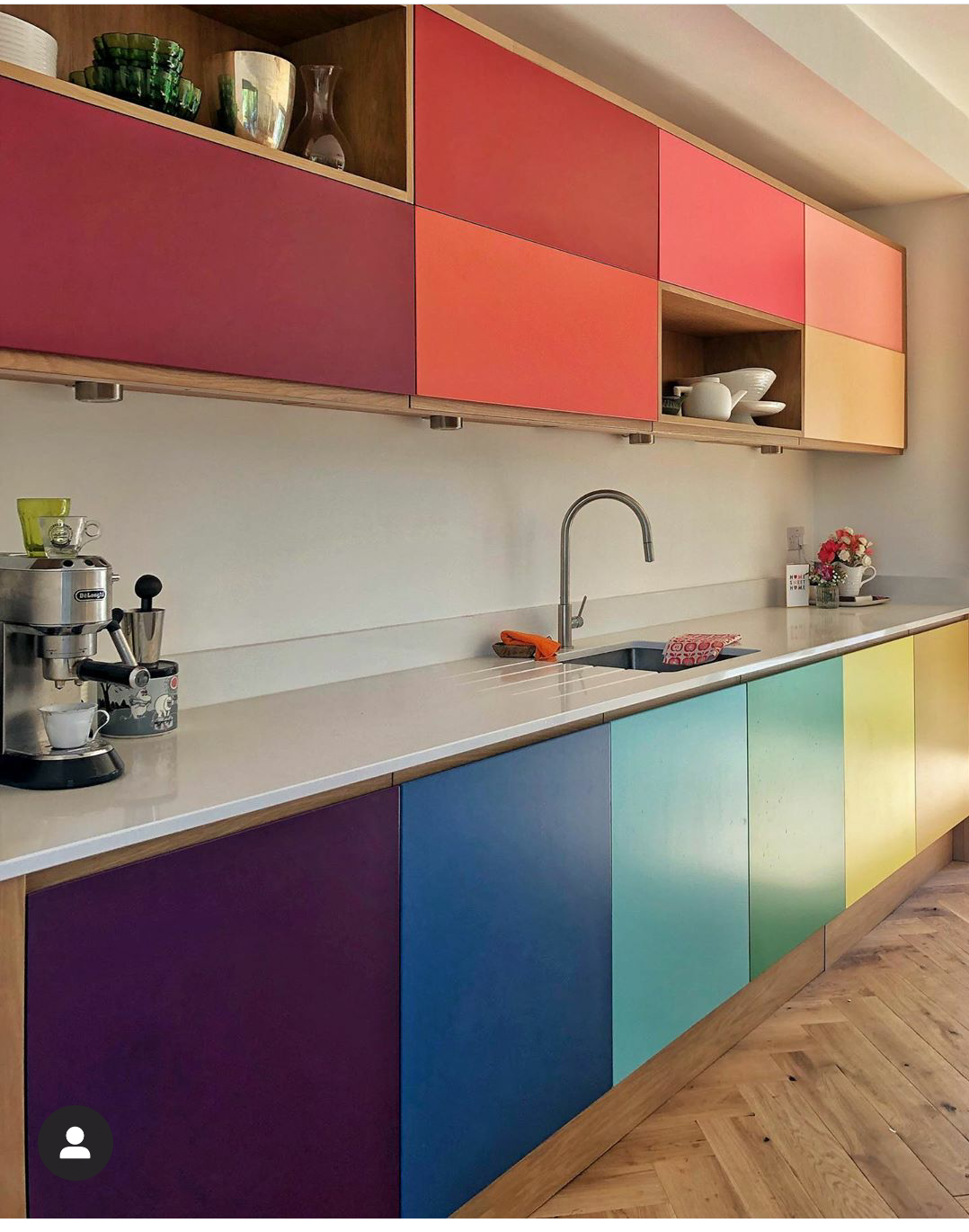 The fabulous kitchen in the home of illustrator jennie maizels. Made by John Lewis of Hungerford, Jenny chose all her cupboard colours