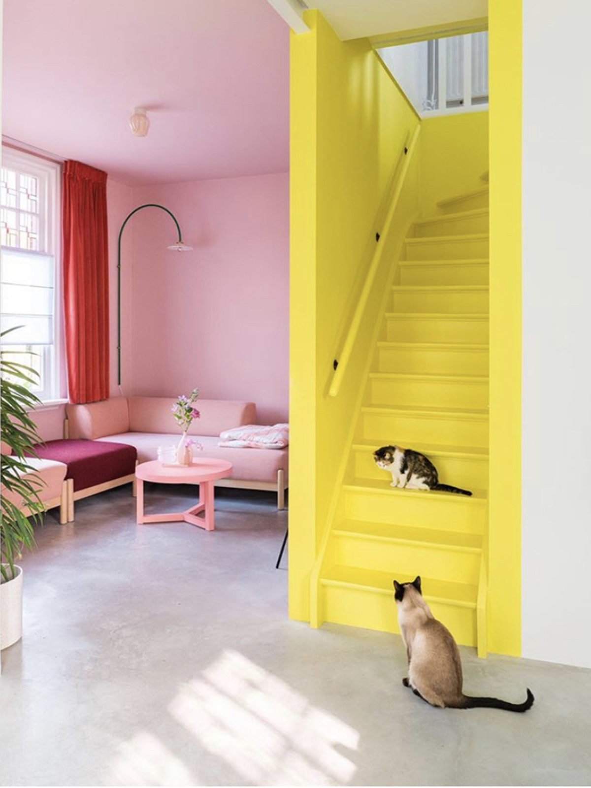 The bright yellow painted staircase and the contrasting pink living room create a striking style statement. Sophie Robinson selects this scheme as part of her colour crush feature on yellow & pink #pinkandyellow #colourcrush #sophierobinson