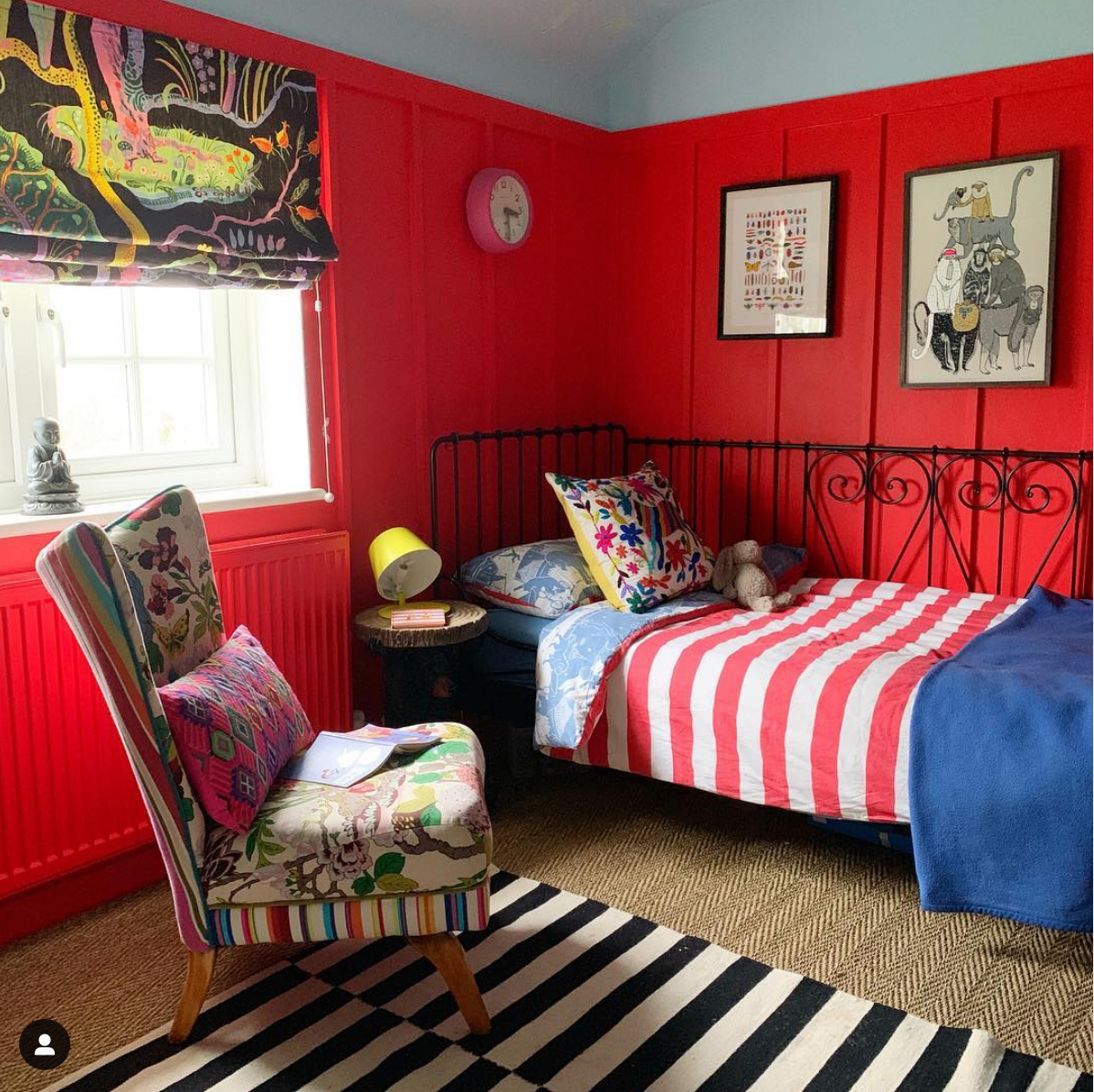 A red bedroom for kids is a bad idea but my son sleeps well in hos and its imprtant to let kids hoose a colour for their bedroom