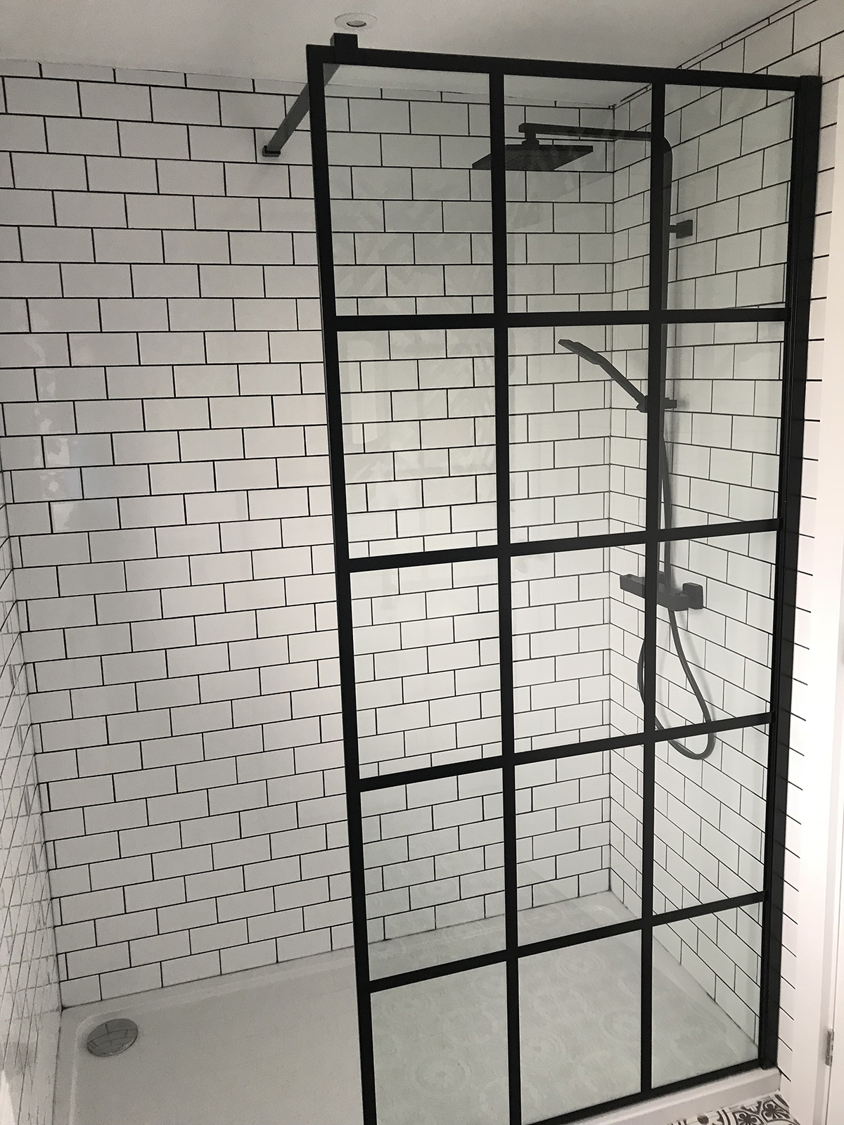 Frame Shower screen by Drench. White chapel brick tiles, Walls and Floors. Instinct low profile shower tray, Gs Centre Ltd. Shower, Victoria Plum.