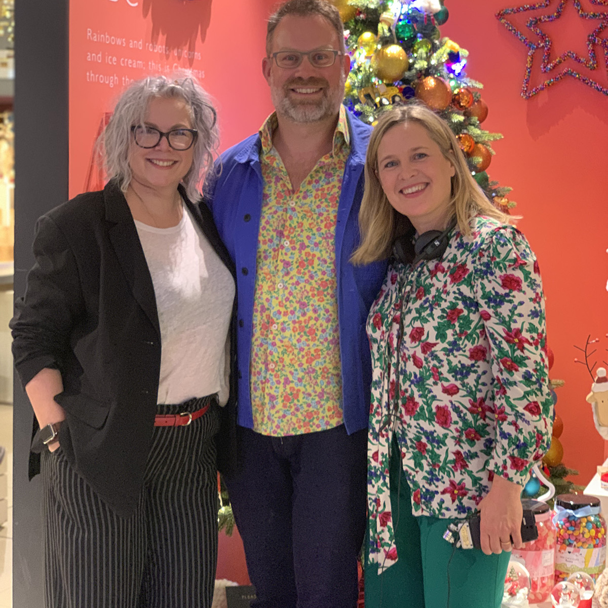 Sophie Robinson and Kate Watson-Smyth with John Lewis & Partners' Christmas buyer Dan Cooper, for the Great Indoors podcast. #christmastrends #johnlewisandpartners #sophierobinson