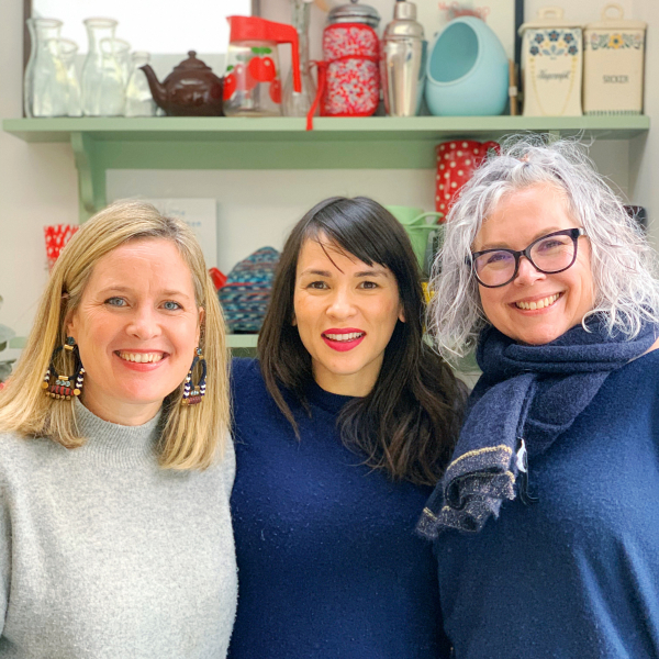 Sophie Robinson and Kate Watson-Smyth take a house tour with Tv cook Rachel Khoo. Here the three of them pose for a snap in Rachel's open plan kitchen. #podcast #thegreatindoors #sophierobinson
