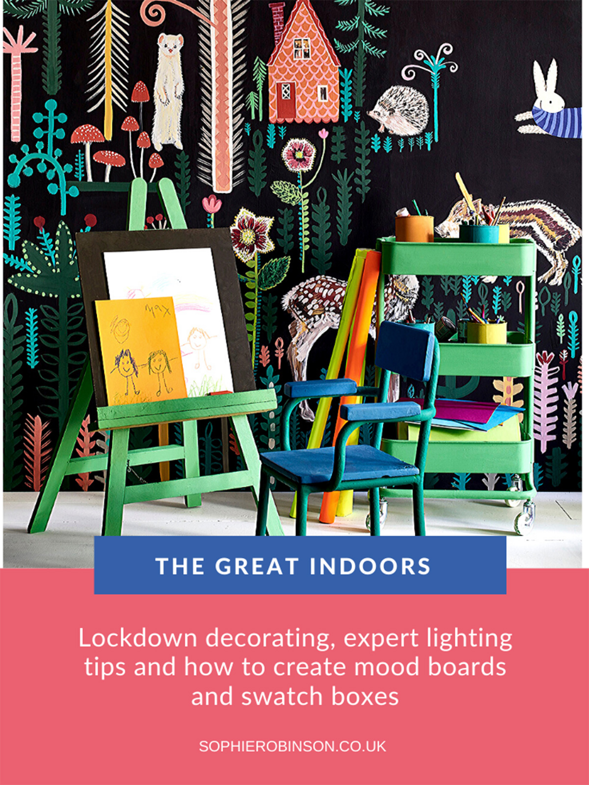 The Great Indoors showing colourful painted kids furniture by Annie Sloan and painted mural by Lucy Tiffney.
