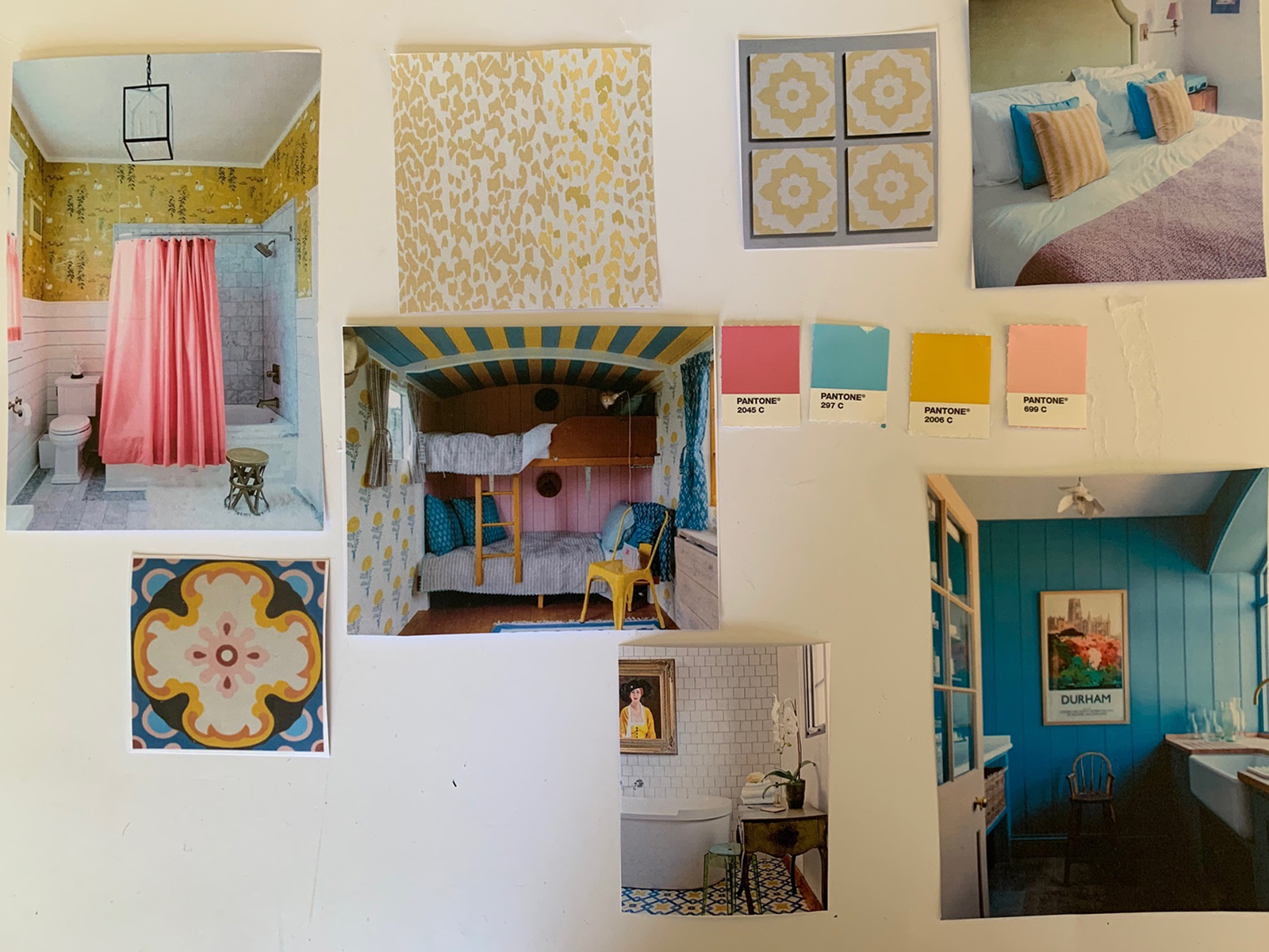 Bathroom mood board featuring yellow patterned tiles, blue panelled walls and pink swatches by Interior designer Sophie Robinson
