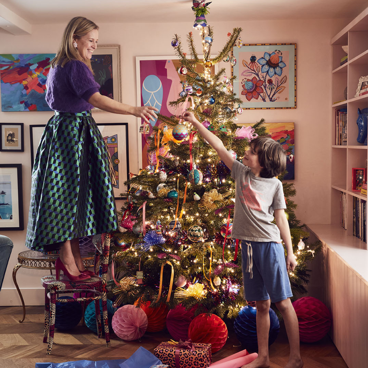 Sophie Robinson and her son Arthur Decorating the colourful Christmas tree