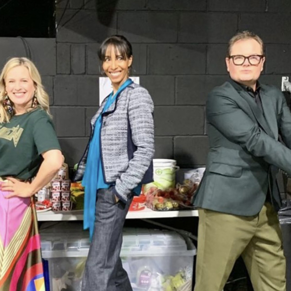 Sophie Robinson, Michelle Ogundehin and Alan Carr pose for Interior Design Masters TV show.